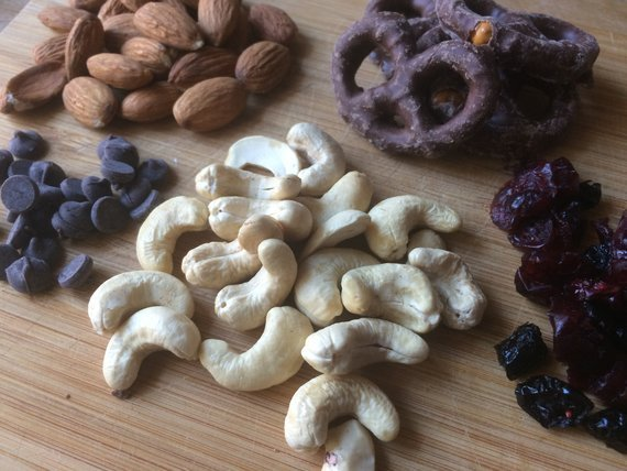 Cashews chocolate pretzels almonds chocolate and raisins