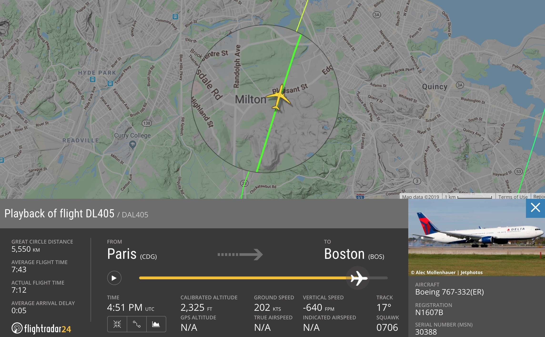Delta 767 lost an escape slide over Milton, Massachusetts