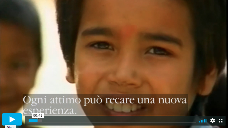 Screen grab of the film 'La bussola' about children learning Anapana meditation