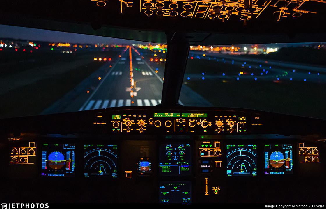 Flight deck view on final approach