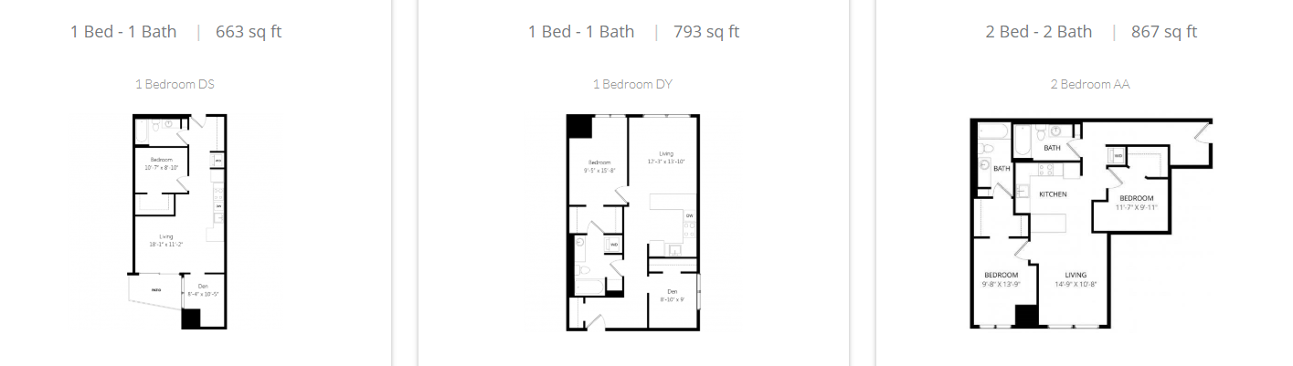 additional one, two, and three bedroom floorplans at bent tree
