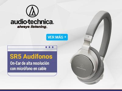 Audio-technica SR5 Audífonos Auriculares On-Ear de alta resolución. Acabado en color blanco.